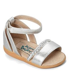 Look at this #zulilyfind! Silver Braid-Strap Squeaker Sandal #zulilyfinds