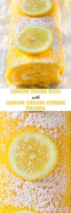 Lemon Swiss Roll with Lemon Cream Cheese Filling