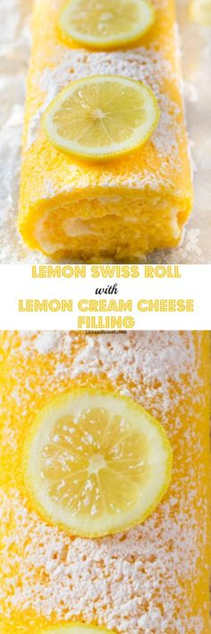 Lemon Swiss Roll with Lemon Cream Cheese Filling