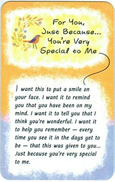 Blue Mountain Arts Wallet Card Just Because You're Very Special to Me Blue Mountain Arts http://www.amazon.com/dp/B005QQOXWE/ref=cm_sw_r_pi_dp_aPRJvb0EM5HQ4