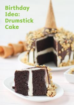 Layers of moist chocolate cake are frosted with vanilla icing and coated in a chocolate shell with chopped peanuts in this delicious and decadent Drumstick Cake dessert recipe.
