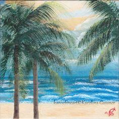 "Original Painting ""Palm Trees On The Beach"" by Karolina Gassner (karogfineart)"