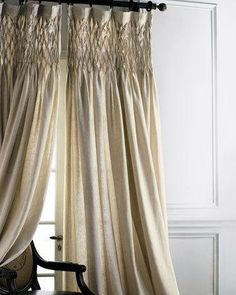 Rod-pocket curtains have a 16inL border of smocking and are made of organic linen; choose color below. Imported. For guidelines on how to measure for curtains, click here