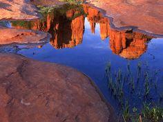 Reflection of Cathedral Rock at Red Rock Crossing, Oak Creek Canyon, Sedona, Arizona