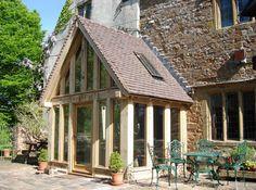 Oak Framed Garden Room/glass with tile-covered porch Oak Framed Extensions, House Extensions, Porch Extension, Extension Ideas, Glass Porch, Porch Canopy, Front Porch Design, Front Porches, Oak Frame House