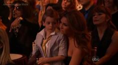 """Elizabeth at """"DWTS"""" to support William Levy and brought her son as well"""