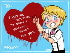 """ask-hitman-jones: """" Happy Valentine Thank you everyone for submitting pick up lines! :D They're wonderful! Also check out last year's Valentine cards if you want :) [x] [x] """" ((I didn't Anime Pick Up Lines, Assassin, Alfred Jones, Hetalia Fanart, Hetalia Anime, Hetalia America, Hetalia Axis Powers, A Funny, Funny Memes"""