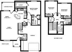 NAS Corpus Christi - 3 bedroom townhome floor plan.