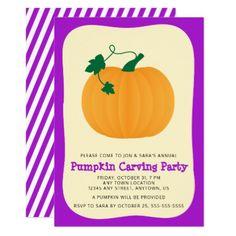 #Halloween Pumpkin Carving Party Card - #halloween #party #stuff #allhalloween All Hallows' Eve All Saints' Eve #Kids & #Adaults