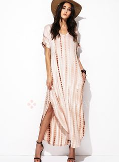 Dresses - $40.99 - Rayon Stripe Short Sleeve Maxi Casual Dresses (1955128967)
