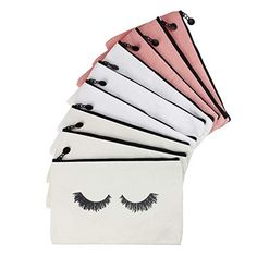 LJY 9 Pieces Eyelash Pattern Makeup Cosmetic Travel Pouches Toiletry Bag Cases with Zipper for Wo...