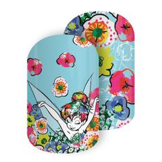 Think Happy Thoughts | Disney Collection by Jamberry | Volume 3 | Tinker Bell | Featuring a colorful floral fusion and the iconic silhouette of Disney Tinker Bell, it will be hard not to 'Think Happy Thoughts' with this vibrant design at your fingertips!