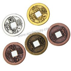 Zinc Alloy Ancient Round Coin Beads,Plated,Cadmium And Lead Free,Various Color For Choice,Approx 24*1mm,Hole:Approx 6mm,Sold By Bags,No002885