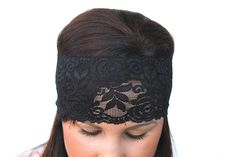 Wide Black Stretch Lace Headband 3.25 in on Etsy, $5.99