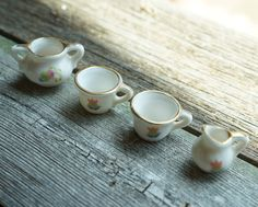 Set of 4 White Toy Doll Miniature Ceramic Tea Cup Mini Pottery Pitcher by…