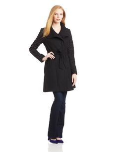 Vince Camuto Women's Funnel Neck Wool Coat with Studded Sleeves, Black, X-Small Vince Camuto