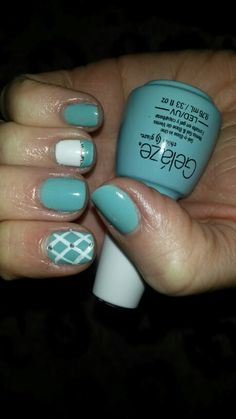 Robin Egg/Tiffany Blue nails with white&silver accents. Had to take a pic before I ruin them doing hair color!