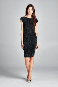 Milla Dress in Black Shimmer