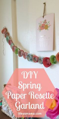 We are a bit obsessed with garlands. They add such a fun little detail to the home decor and there are so many different ways you can make a garland and decorate with it. Since spring is approaching we decided to make one with pretty spring colors in this gorgeous rosette style!