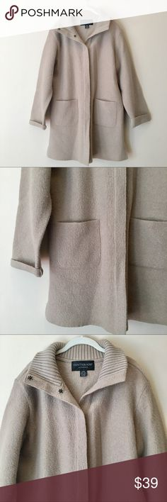 Beige Wool Collared Jacket Pretty beige wool collared button-up coat by Centigrade.  Size Large.  Excellent condition! Centigrade Jackets & Coats