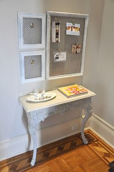 What a great mail organization station created out of a beautiful radiator grill, some old frames, and magnets.  See the full tutorial here: www.brooklynlimes...