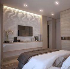 Bedroom Tv Wall, Modern Master Bedroom, Home Decor Bedroom, Bedroom Ideas, Contemporary Bedroom, Bed Room, Master Suite, Bedroom With Tv, Bedroom Plants