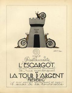 * La Tour d'Argent & L'Escargot 1928 (Restaurants) Lithograph PAN Paul Poiret, Deluermoz