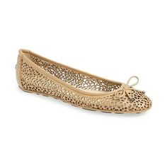 Women's Jimmy Choo 'Walsh' Perforated Leather Ballerina Flat (31.640 RUB) ❤ liked on Polyvore featuring shoes, flats, nude, perforated flats, nude shoes, ballet pumps, jimmy choo flats and leather ballet flats