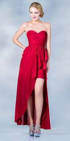 7c089f09b4a CLEARANCE - Strapless Chiffon Dress Red High Low Chiffon (Size 2XL)