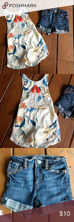 Romper & Levi's Adorable floral romper with a bib front, open back! Levi's Shorty Short. Both are NWOT. No flaws! Size 4 Levi's Bottoms