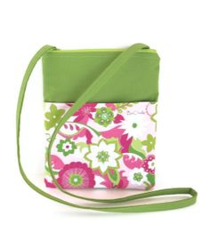 Cross body hip sling bag bright green pink & white by Bachelle, $24.00
