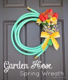 DIY Garden Hose Spring Wreath - too adorable!