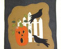 PATTERN - On The Fence - Wool Applique' Wall Hanging