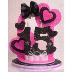 decoração em isopor topo de bolo - Buscar con Google Quinceanera Centerpieces, Birthday Centerpieces, Sweet 15 Invitations, Cake Tower, Party Time, Minnie Mouse, Birthdays, Diy Crafts, Centrepieces