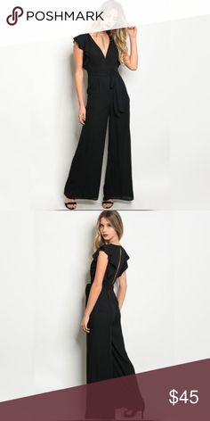 💋❤️Gorgeous Ruffled wrap tie Jumpsuit Black Fabric- 100% Polyester Color- Black  Elegant and beautiful, one of my favorites❤️ Can be worn to a party, work, and wherever you want to look fabulous for the day💋 Other