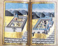 Représentation ottomane du XVIIIe siècle des mosquées saintes de Médine (à gauche) et de La Mecque (à droite). Domaine public, via Wikipedia.