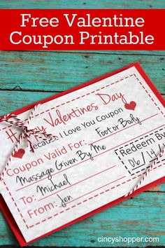 FREE Valentine Coupon Printable- Inexpensive and personal Valentine Idea. Perfect for family and friends.