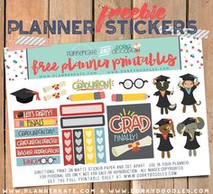 Free Printable Graduation Planner Stickers from Planner Kate & Dorky Doodles