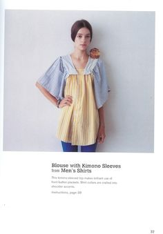 Sewing Upcycle: Blouse with Kimono Sleeves From Men Shirts