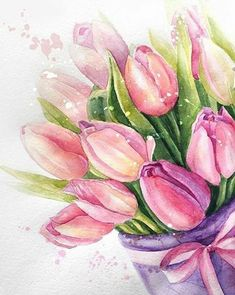 Watercolor Cards, Watercolor Illustration, Watercolor Flowers, Watercolor Paintings, Watercolors, Tulip Painting, Painting & Drawing, Diy Painting, Landscape Drawings