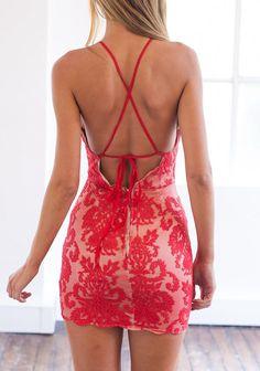 Red Cutaway Bodysuit Halter Backless Eyelash Lace Bodycon Dress