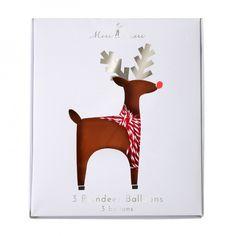 Reindeer foil balloons - set of 3