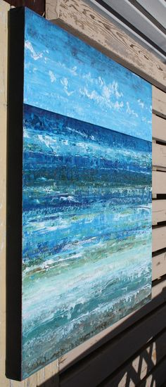 TITLE: The Sea and Me   ***FREE SHIPPING to USA and Canada - limited time offer*** ***SHIPPING TO UK is at a reduced rate***   This is an original abstract painting hand painted by the artist.  DESCRIPTION: This is a lovely large abstract painting inspired by my travels to the sea shore this summer. In this attempt I am trying to capture all the wonderful subtle changes in colour the ocean offers as it moves in its endless flow toward shore. Please see close ups for details. Hope you like…