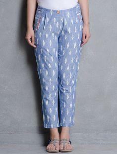 Salwar pants - Blue Ikat Cotton Pleated Slim Pants by Indian August Salwar Designs, Kurta Designs Women, Kurti Designs Party Wear, Blouse Designs, Slim Pants, Trouser Pants, Plazzo Pants, Casual Pants, Capri Pants