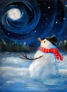 "Easy Christmas Paintings On Canvas Luxury ""snowman Gazes at Night Sky & Moon Folk Painting "" by Winter Scene Paintings, Winter Painting, Easy Paintings, Winter Scenes To Paint, Acrylic Paintings, Snowmen Paintings, Christmas Canvas, Christmas Art, Christmas Paintings On Canvas"