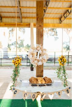 Wedding Cookie Table.  Hanging Pallet.   Pallet ideas.