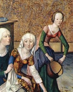 What's going on with the middle ladies sleeves? 4-Master-of-the-Lifeof-the-virginThe-birth-of-the-virgin-1470