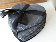SET OF FOUR SLATE CHIC N SHABBY HEART SHAPED COASTERS DINING TABLE ROOM via Bluelake Interiors                       free UK postage . Click on the image to see more!