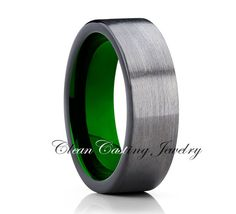 Unique Green Tungsten Wedding Band,Gunmetal Tungsten Ring,Anniversary Band,Black Tungsten Band,Comfort Fit,6mm,Engagement Band,Set