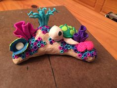 DIY polymer clay coral reef sea turtle ocean life